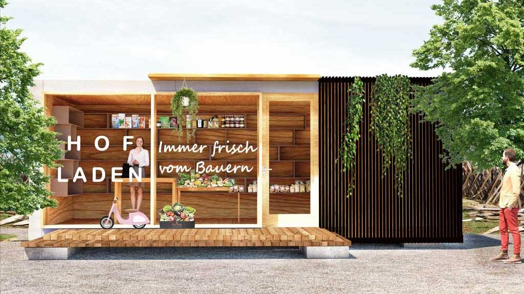 Das Tiny House aus Österreich als Hofladen