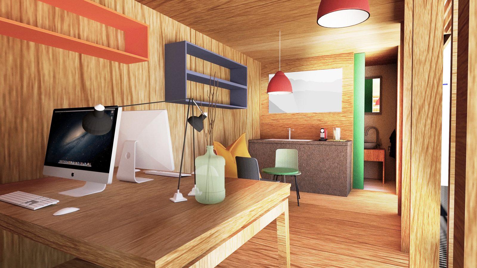 geräumiger Workspace im Chalet